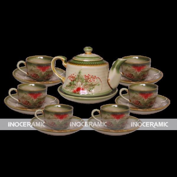 bộ trà men rêu ấm chuông bộ