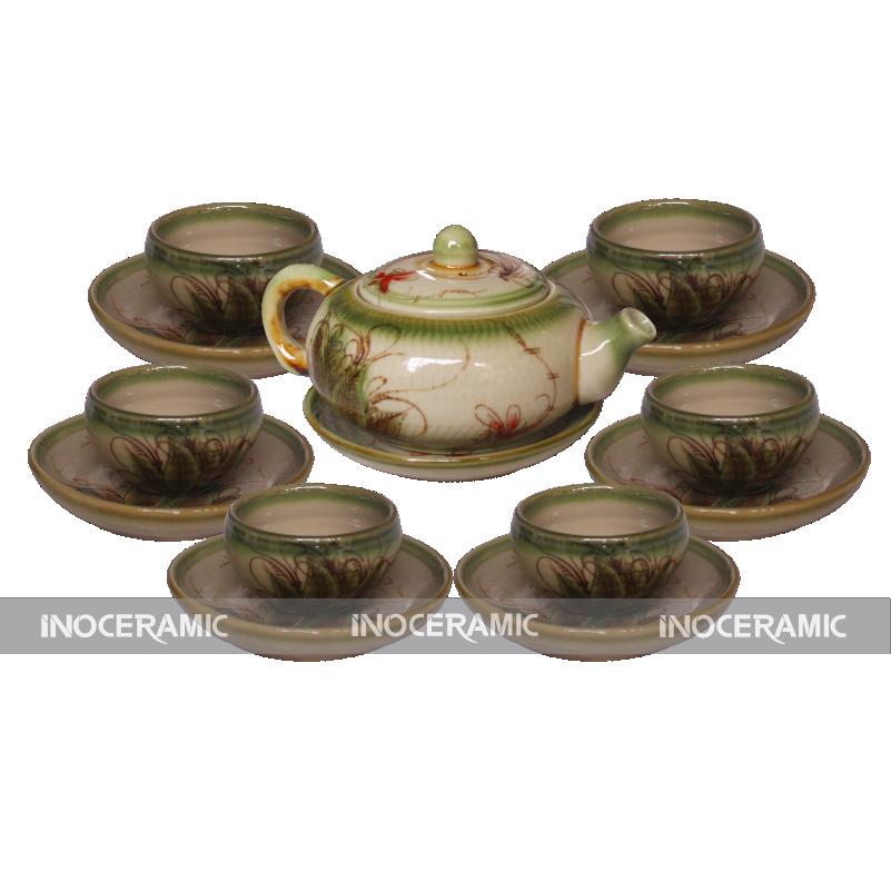 bộ ấm trà men rêu