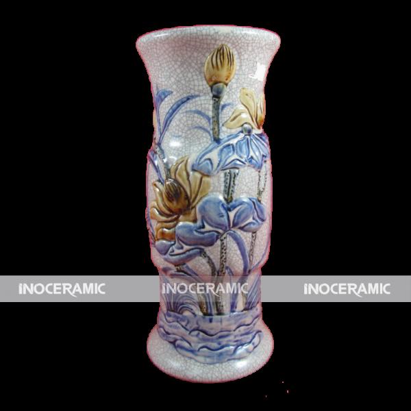 Lọ hoa ống đồ thờ men rạn S2