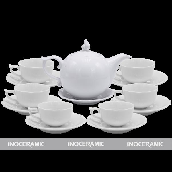 Bộ trà men trắng hoa văn 5