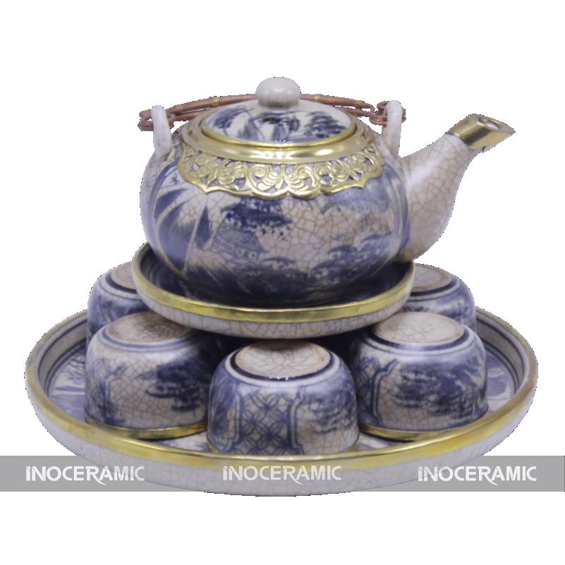 Bộ ấm trà men rạng bọc đồng - Quà tặng tết giá rẻ tại Hà Nội