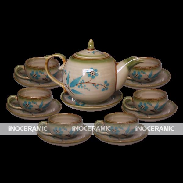 Bộ trà Bát Tràng men rêu ngọn lữa