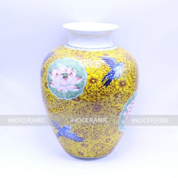 Vò màu kim ngọc mãn đường - Bình hoa đẹp gốm sứ Bát Tràng quà tết cao cấp- Quà Tặng Víp