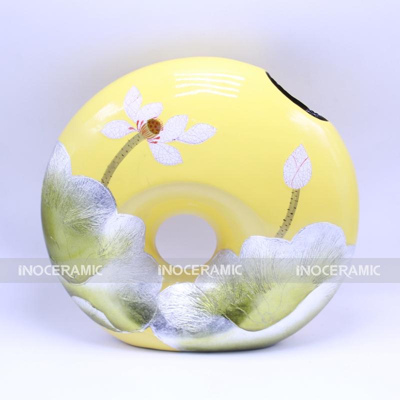 A còng vàng khảm S1 - Lọ hoa độc đáo gốm sứ bát tràng