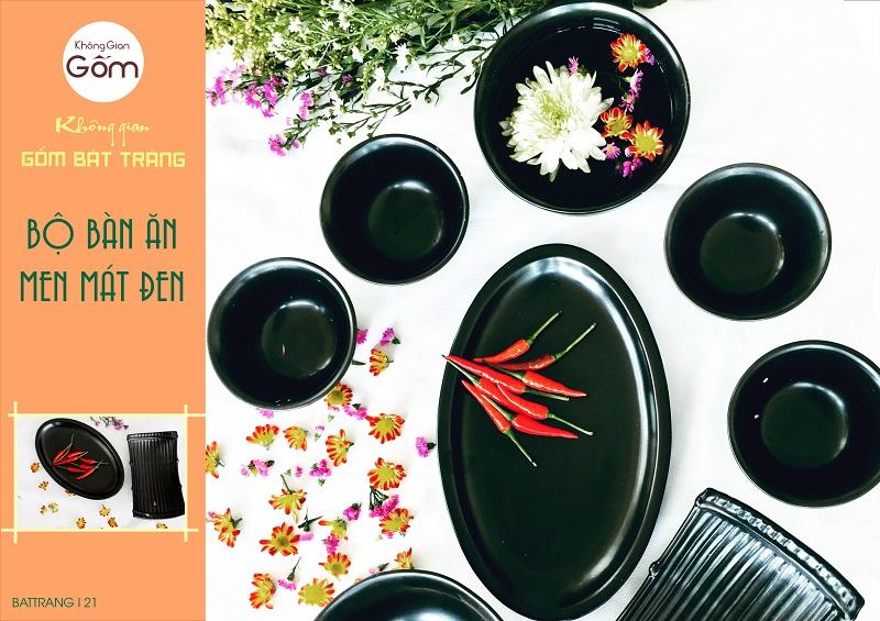 Bộ bát đĩa men đen Bát Tràng, Bát đĩa cao cáp
