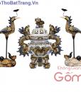 Bộ đỉnh hạc thờ men rạn cổ Bát Tràng, đôi đỉnh hạc thờ
