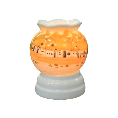 Mẫu đèn xông tinh dầu Bát Tràng nhỏ đẹp vẽ làng quê mini 5