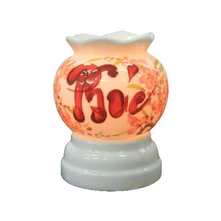 mẫu đèn xông tinh dầu nhỏ đẹp vẽ chứ Phúc Bát Tràng