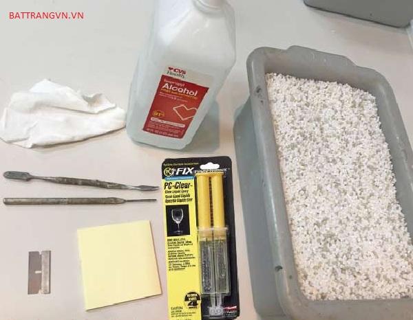 dụng cụ cần để hàn gắn gốm sứ
