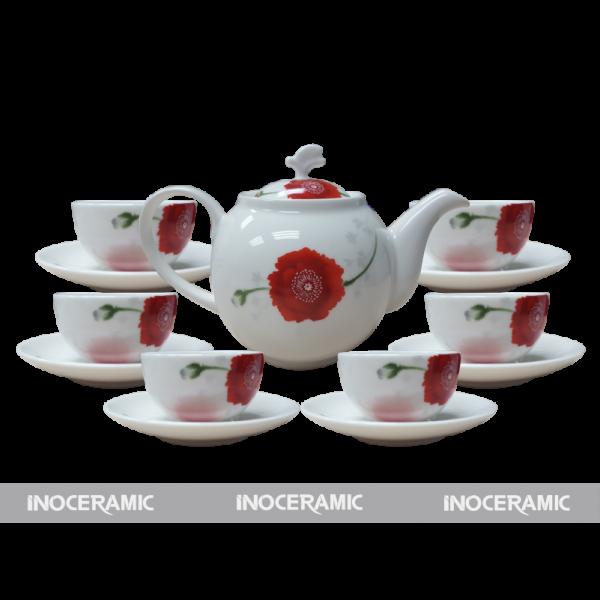 Bộ trà men trắng hoa văn 1