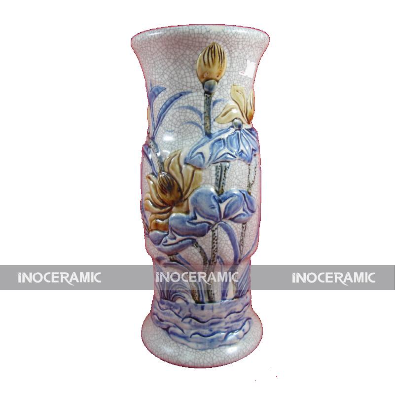 Lọ hoa ống đồ thờ men rạn S1