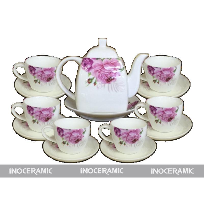 Bộ trà men trắng hoa văn 2