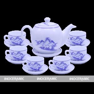 Bộ trà men trắng hoa văn 3