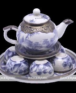 Bộ trà a cong bọc đồng