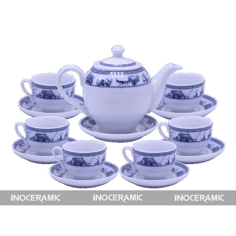 cung cấp ấm trà men trắng hoa văn tại Bắc Giang