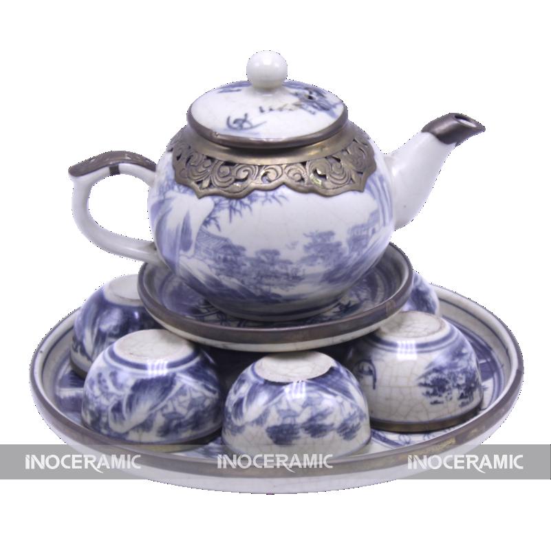 Bộ trà men rạn bọc đồng tại Đắk Lắk