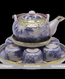 Món quà tặng tết ý nghĩa - bộ ấm trà men rạn bọc đồng Bát Tràng