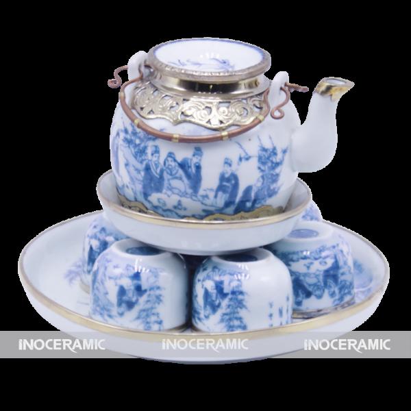 Bộ trà men xanh bọc đồng - Quà tặng Tết cao cấp tại Quận 11