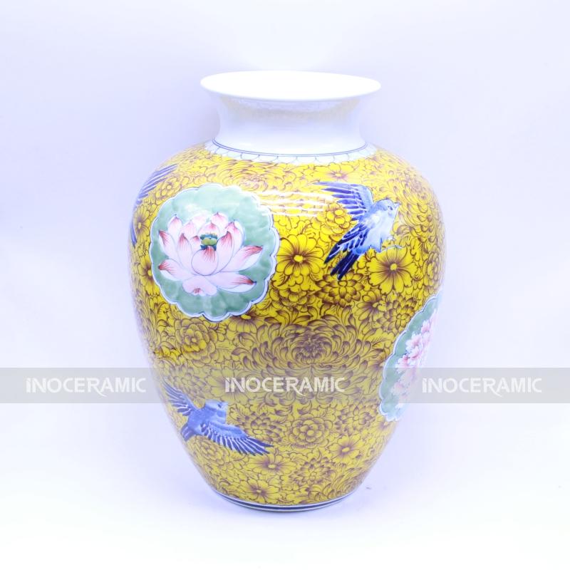 Vò màu kim ngọc mãn đường - Bình hoa đẹp gốm sứ Bát Tràng