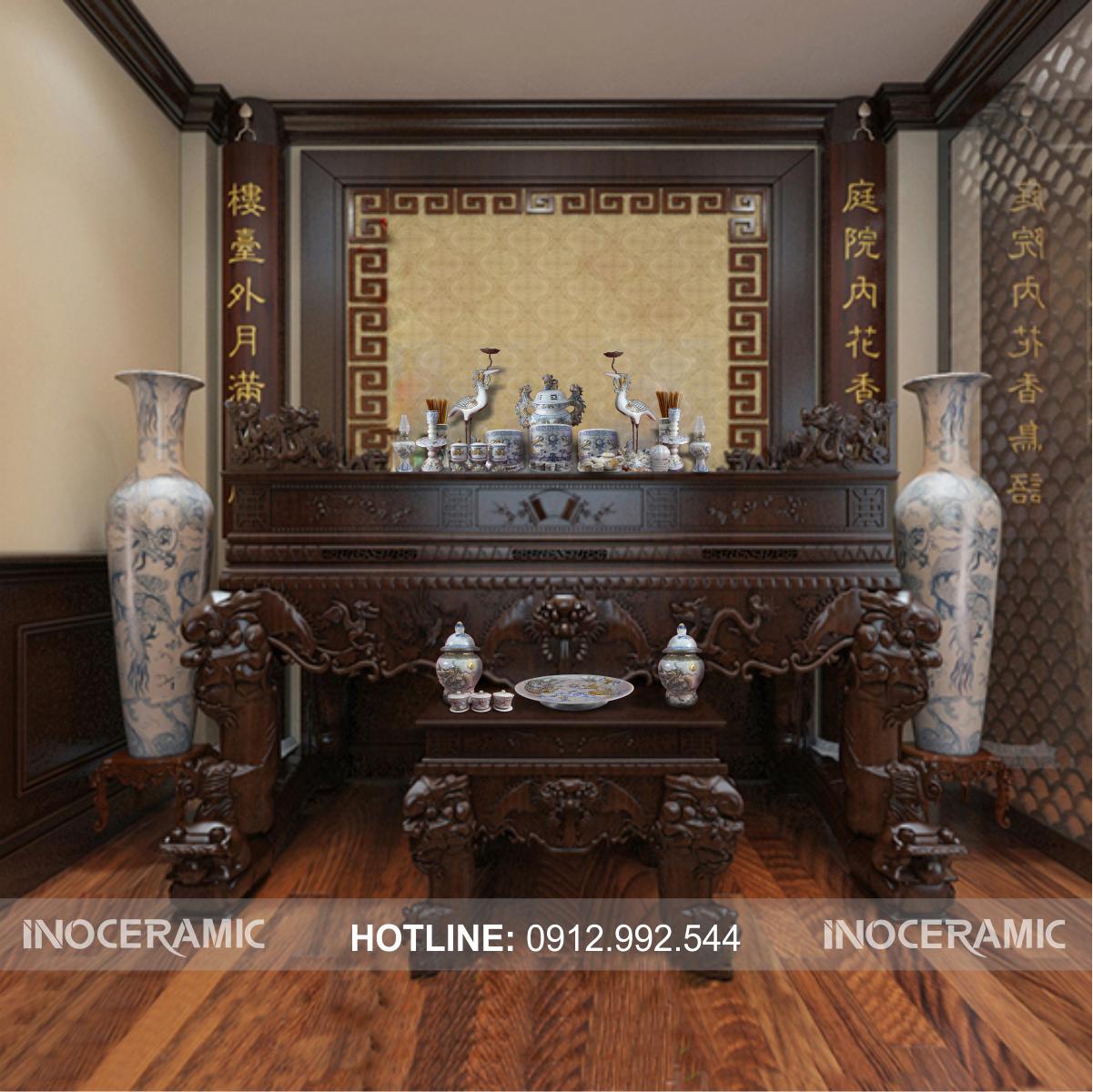 mẫu phòng thờ đẹp - cung cấp gốm sứ thờ cúng cao cấp Bát Tràng