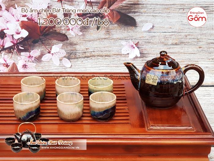 Bộ ấm chén trà cao cấp Bát Tràng men xà cừ │Không Gian Gốm