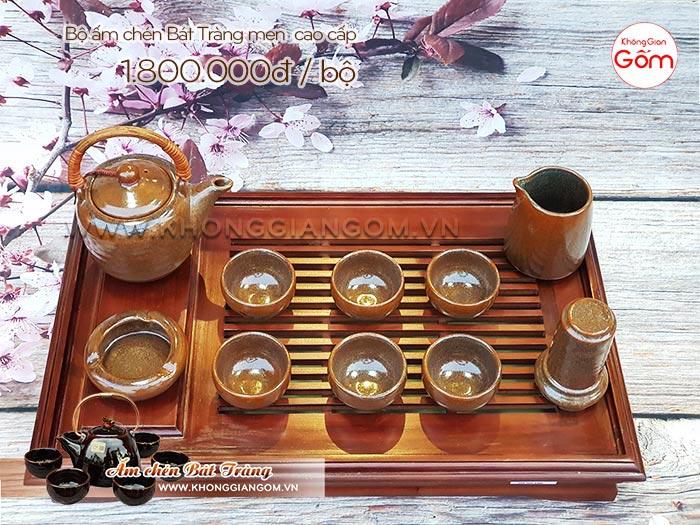 Bộ ấm trà gốm sứ cao cấp Bát Tràng men nâu │Không Gian Gốm