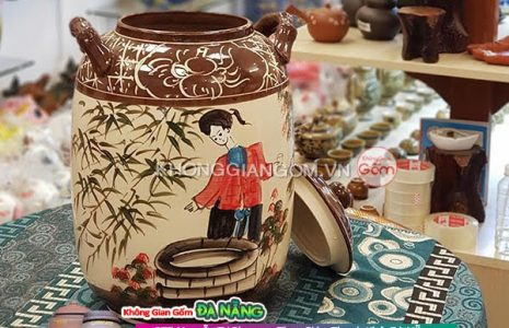 Các mẫu hũ đựng gạo gốm sứ tại Đà Nẵng - gốm sứ bát tàng mang Tài Lộc