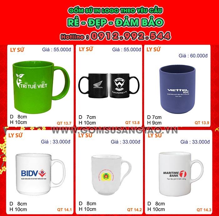 Địa chỉ in hình logo ở Cà Mau lên ly sứ , cốc sứ , bộ ấm trà quà tặng