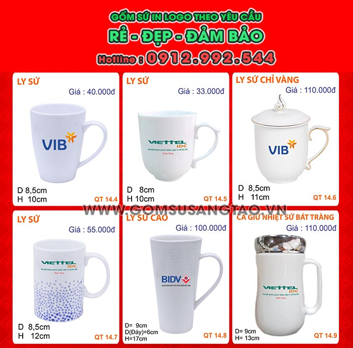 In ly sứ giá rẻ ở Đà Nẵng - xưởng chuyên cung cấp, sản xuất ly sứ