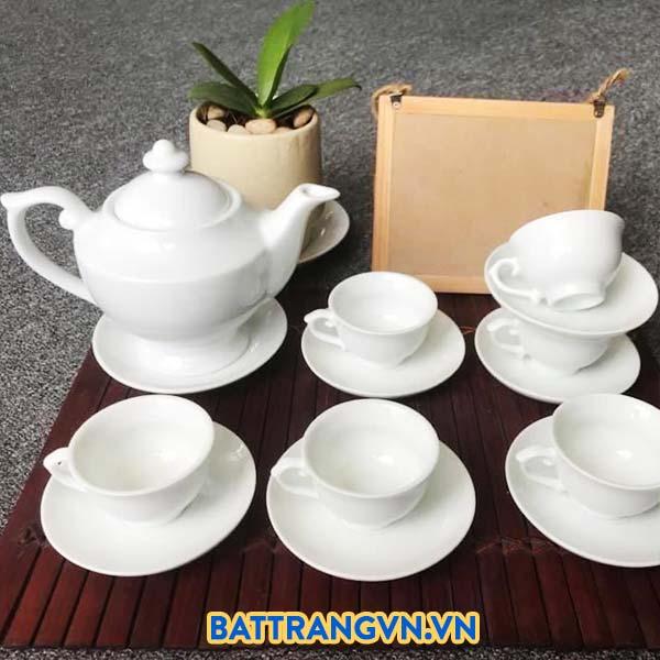 Bộ ấm trà sứ trắng dáng cao sang trọng 02