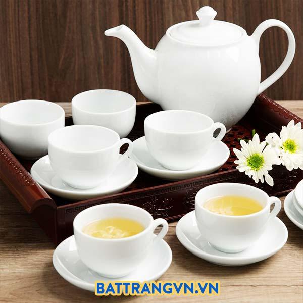 Bộ ấm trà sứ trắng trơn dáng cao