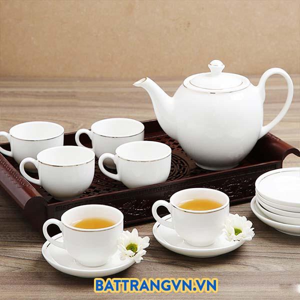 Bộ ấm trà sứ trắng trơn viền kim