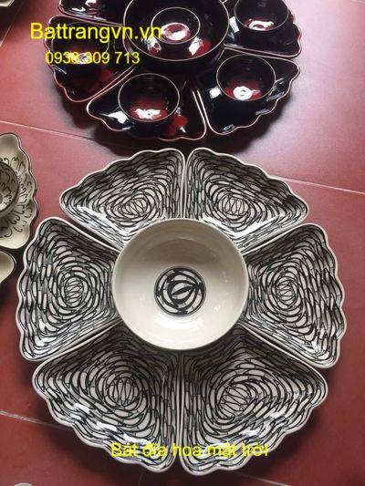 bộ bát đĩa hoa mặt trời cá đàn