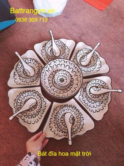 bộ bát đĩa hoa mặt trời cúc đen