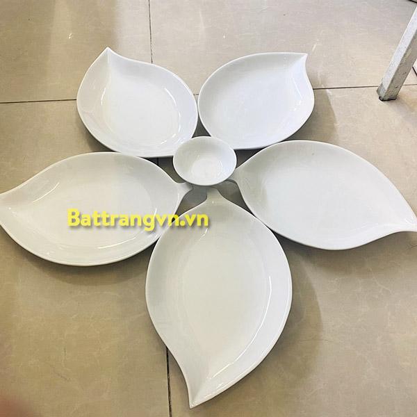 Bộ bát đĩa sứ trắng 6 cánh 01
