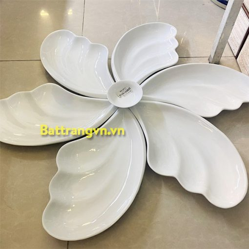 Bộ bát đĩa sứ trắng 6 cánh 02