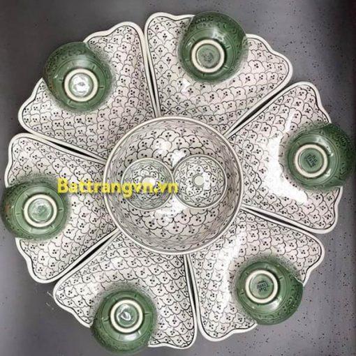 Bộ bát đĩa hoa 6 cánh vân bèo xanh