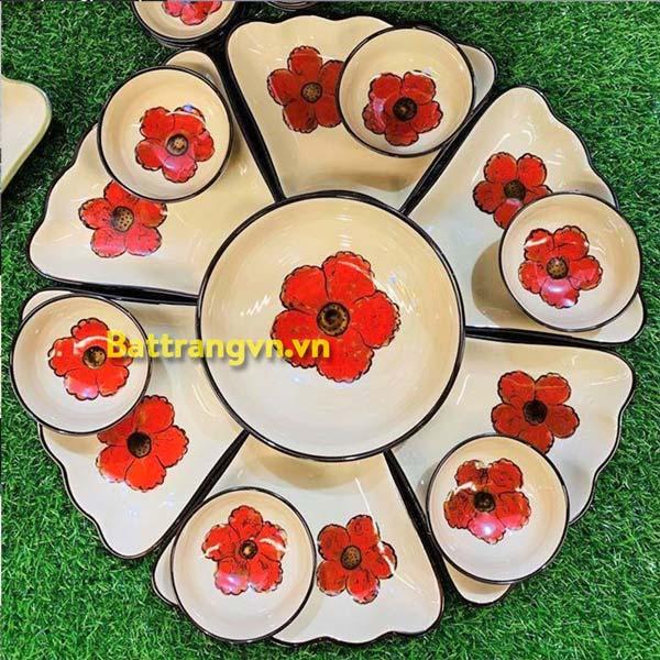 Bộ mâm bát gốm sứ 6 cánh hoa đỏ