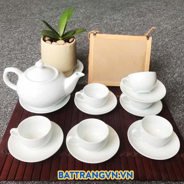 Bộ trà sứ trắng trơn dáng tròn 02