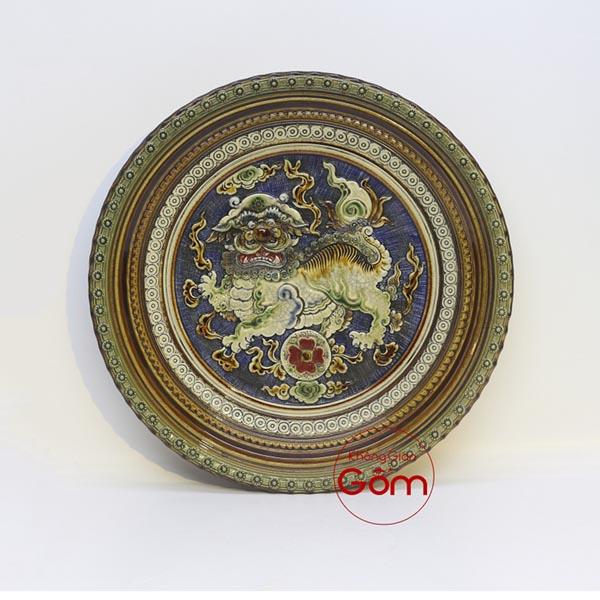 Mẫu đĩa sứ trang trí phong thủy Long Lân Quy Phụng