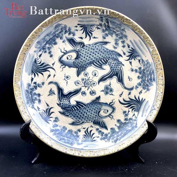 Mẫu đĩa sứ trang trí phong thủy Cá Chép hóa Rồng