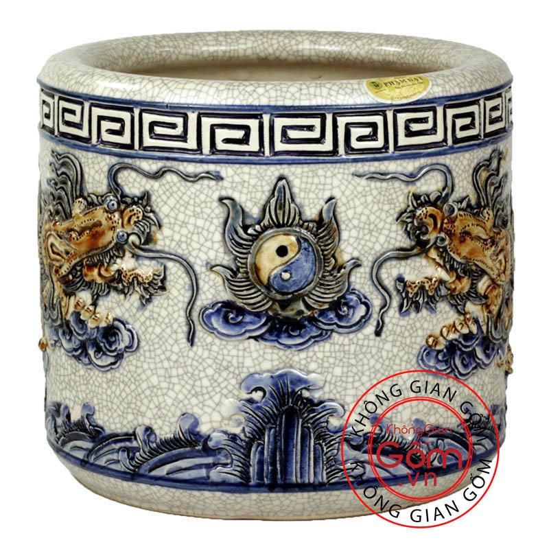 Bát hương thờ cúng Bát Tràng vẽ Rồng, mẫu Bát hương bát Tràng cao cấp