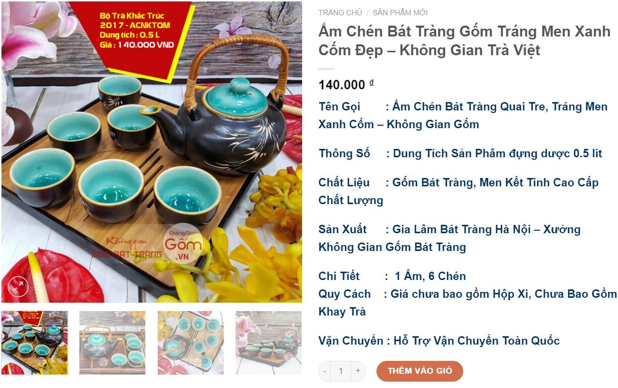 Bộ ấm trà Bát Tràng đẹp giá rẻ mẫu mới nhất năm 2018