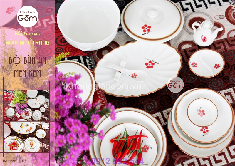 Bộ bát đĩa đẹp - Bộ hoa đào đỏ