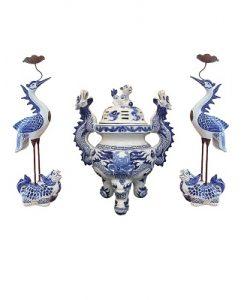 Bộ đỉnh hạc thờ bát tràng, đỉnh thờ và chim hạc thờ đẹp giá tốt