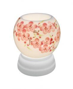 đèn xong tinh dầu vẽ hoa đào, đèn tinh dầu Bát Tràng đẹp