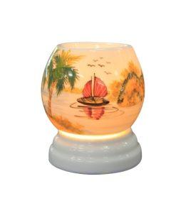 mẫu đnè xông tinh dầu vẽ thuyền và nước làng quê