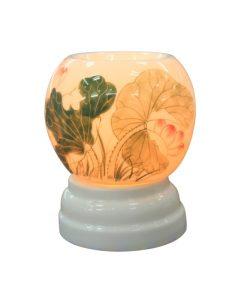 Đèn xông tinh dầu đẹp nhỏ gọn Bát Tràng vẽ sen mẫu số 6