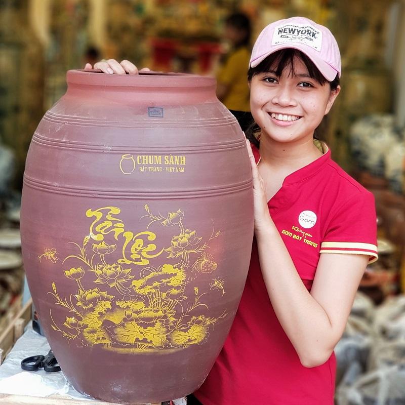 Mẫu hủ gạo gốm Bát Tràng Tài Lộc 2018