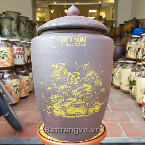 Hũ gạo Tài Lộc Bát Tràng đất nung - Hủ gạo may mắn